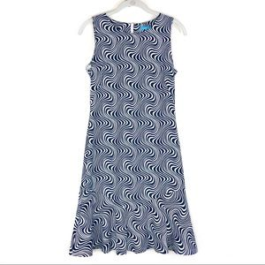 J. McLaughlin wavy ruffle trim sleeveless dress XS